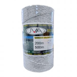 JVA 200 metre roll of electric fence polywire SP014 white