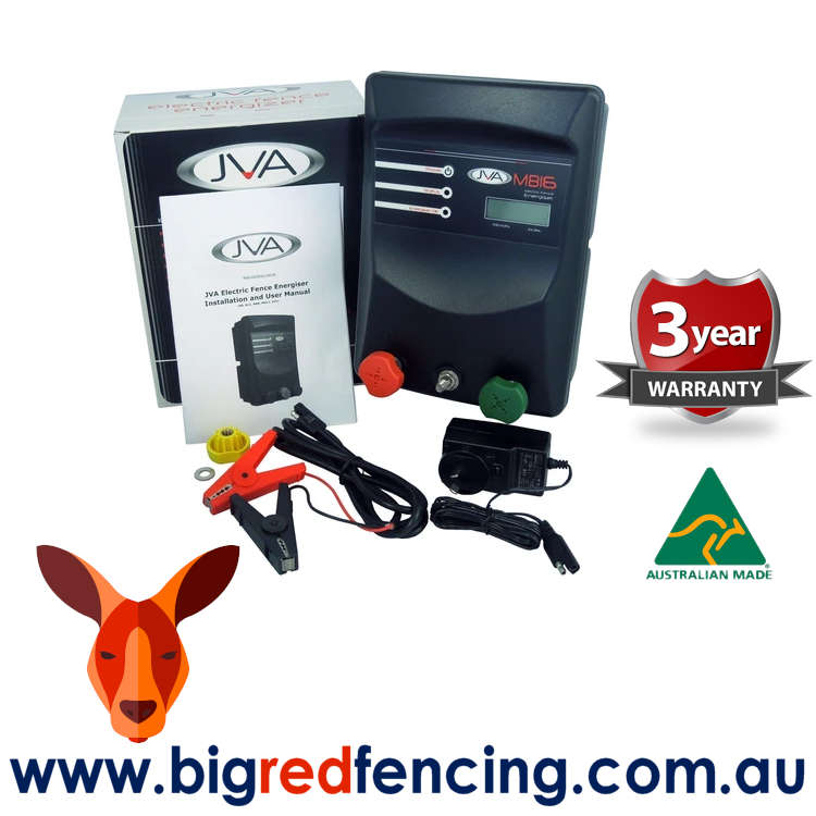 JVA MB16 160km Mains or Battery Powered Electric Fence IP Energizer® 16 Joule 1