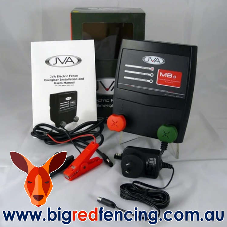 JVA MB3 30km Mains or Battery Powered Electric Fence Energiser PTE2255 box contents