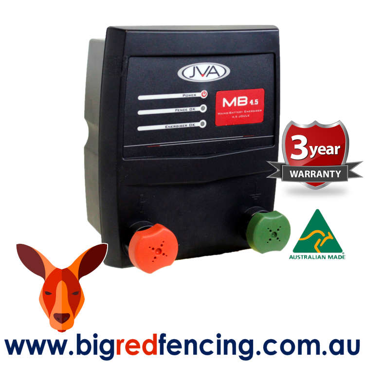 JVA MB4.5 45km Mains or Battery Powered Electric Fence Energiser 4.5 Joule PTE2233