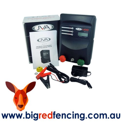 JVA MB8 80km Mains or Battery Powered Electric Fence IP Energizer 8 Joule PTE2140 box contents