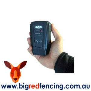 JVA PET100 1km Mains or Battery Powered Electric Fence Energiser PTE2237 held in hand