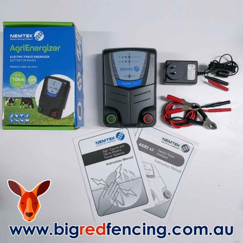 Nemtek Agri 10 - 10km 1 Joule Mains or Battery Powered Electric Fence Energiser AE-A010J Box Contents Unpacked