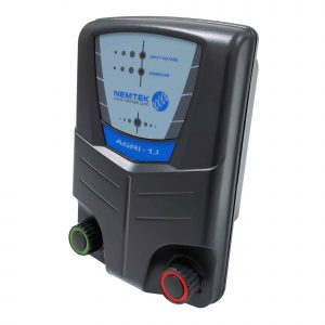 Nemtek Agri 10 - 10km 1 Joule Mains or Battery Powered Electric Fence Energiser AE-A010J Front Unit View L.E.D Display Chunky Terminals