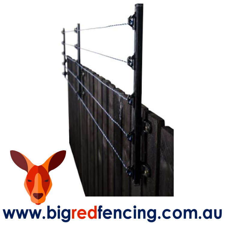 Nemtek Electric Fence and Wall Top 5 Wire Bracket on wooden timber fence AA-MOD5W 2