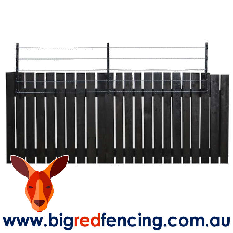 Nemtek Electric Fence and Wall Top 5 Wire Bracket on wooden timber fence AA-MOD5W