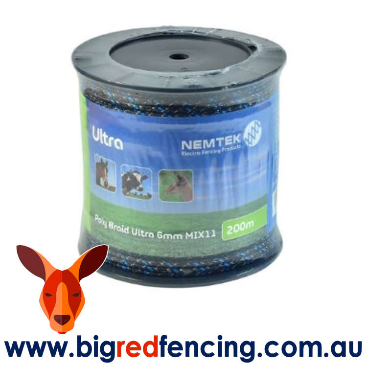 Nemtek electric fence Poly Braid Ultra 6mm Mix11 200m roll AW-PBUL11/200M