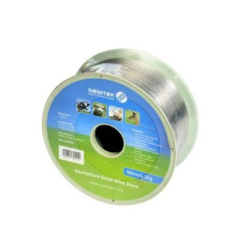 Nemtek Solid Aluminium Electric Fence Wire - 2mm x 500m Roll - AW-AL20-500