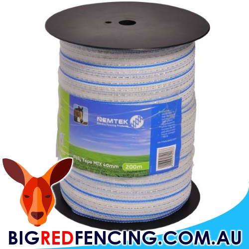 Nemtek electric fence Poly Tape Mix10 40mm x 200m roll AWPTMX40MM200