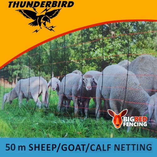 Thunderbird Electric Fence Netting for Sheep Goat Calves ThunderNet 50m roll EF-SGCNET - Electric Netting with lamb and sheep